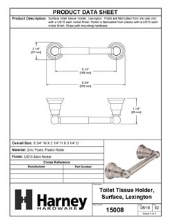 Product Data Specification Sheet Of A Toilet Paper Holder, Lexington Bathroom Hardware Set  - Satin Nickel Finish - Product Number 15008