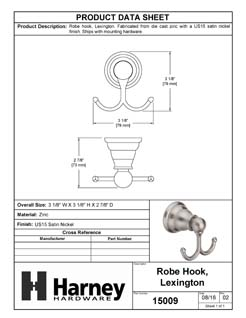 Product Data Specification Sheet Of A Robe Hook / Towel Hook, Lexington Bathroom Hardware Set  - Satin Nickel Finish - Product Number 15009