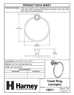 Product Data Specification Sheet Of A Towel Ring, Lexington Bathroom Hardware Set  - Satin Nickel Finish - Product Number 15011
