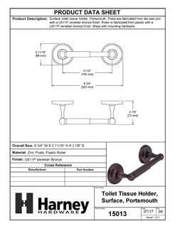 Product Data Specification Sheet Of A Toilet Paper Holder, Portsmouth Bathroom Hardware Set  - Venetian Bronze Finish - Product Number 15013