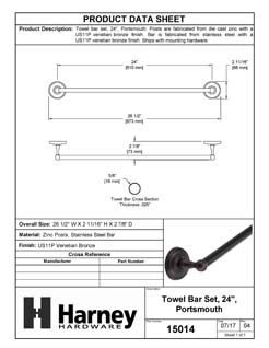 Product Data Specification Sheet Of A Towel Bar, 24 In., Portsmouth Bathroom Hardware Set  - Venetian Bronze Finish - Product Number 15014