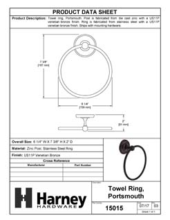Product Data Specification Sheet Of A Towel Ring, Portsmouth Bathroom Hardware Set - Venetian Bronze Finish - Product Number 15015