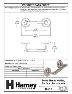 Product Data Specification Sheet Of A Toilet Paper Holder, Portsmouth Bathroom Hardware Set  - Satin Nickel Finish - Product Number 15017
