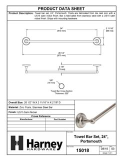 Product Data Specification Sheet Of A Towel Bar, 24 In., Portsmouth Bathroom Hardware Set  - Satin Nickel Finish - Product Number 15018