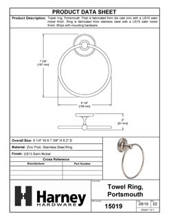 Product Data Specification Sheet Of A Towel Ring, Portsmouth Bathroom Hardware Set  - Satin Nickel Finish - Product Number 15019