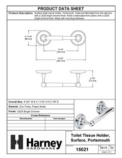 Product Data Specification Sheet Of A Toilet Paper Holder, Portsmouth Bathroom Hardware Set  - Chrome Finish - Product Number 15021