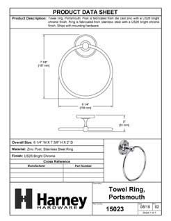 Product Data Specification Sheet Of A Towel Ring, Portsmouth Bathroom Hardware Set - Chrome Finish - Product Number 15023