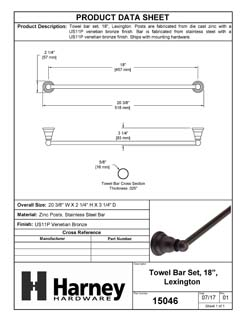 Product Data Specification Sheet Of A Towel Bar, 18 In., Lexington Bathroom Hardware Set  - Venetian Bronze Finish - Product Number 15046