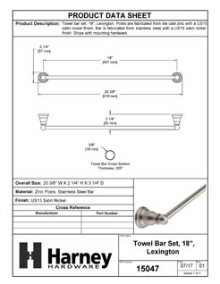 Product Data Specification Sheet Of A Towel Bar, 18 In., Lexington Bathroom Hardware Set  - Satin Nickel Finish - Product Number 15047