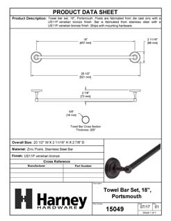 Product Data Specification Sheet Of A Towel Bar, 18 In., Portsmouth Bathroom Hardware Set - Venetian Bronze Finish - Product Number 15049