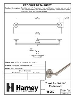 Product Data Specification Sheet Of A Towel Bar, 18 In., Portsmouth Bathroom Hardware Set - Satin Nickel Finish - Product Number 15050