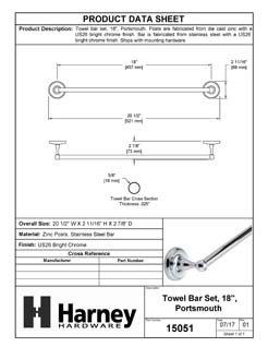 Product Data Specification Sheet Of A Towel Bar, 18 In., Portsmouth Bathroom Hardware Set  - Chrome Finish - Product Number 15051