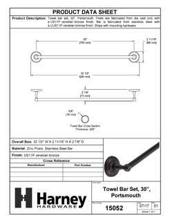 Product Data Specification Sheet Of A Towel Bar, 30 In., Portsmouth Bathroom Hardware Set - Venetian Bronze Finish - Product Number 15052