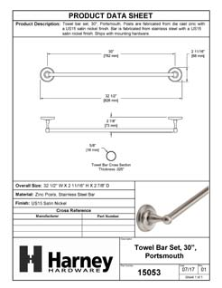 Product Data Specification Sheet Of A Towel Bar, 30 In., Portsmouth Bathroom Hardware Set - Satin Nickel Finish - Product Number 15053
