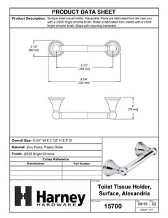 Product Data Specification Sheet Of A Toilet Paper Holder, Alexandria Bathroom Hardware Set  - Chrome Finish - Product Number 15700