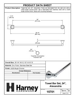 Product Data Specification Sheet Of A Towel Bar, 24 In., Alexandria Bathroom Hardware Set  - Chrome Finish - Product Number 15701
