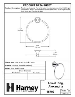 Product Data Specification Sheet Of A Towel Ring, Alexandria Bathroom Hardware Set - Chrome Finish - Product Number 15703