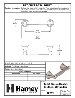 Product Data Specification Sheet Of A Toilet Paper Holder, Alexandria Bathroom Hardware Set  - Satin Nickel Finish - Product Number 15704