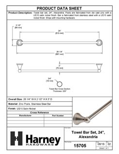 Product Data Specification Sheet Of A Towel Bar, 24 In., Alexandria Bathroom Hardware Set  - Satin Nickel Finish - Product Number 15705