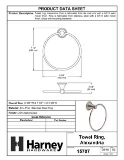 Product Data Specification Sheet Of A Towel Ring, Alexandria Bathroom Hardware Set - Satin Nickel Finish - Product Number 15707