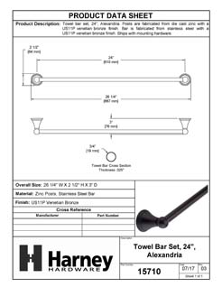 Product Data Specification Sheet Of A Towel Bar, 24 In., Alexandria Bathroom Hardware Set - Venetian Bronze Finish - Product Number 15710