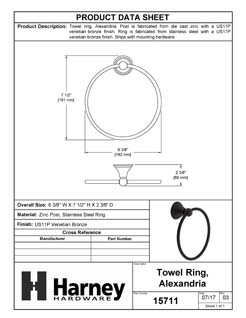 Product Data Specification Sheet Of A Towel Ring, Alexandria Bathroom Hardware Set  - Venetian Bronze Finish - Product Number 15711