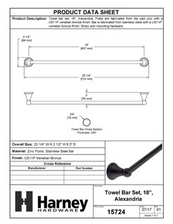 Product Data Specification Sheet Of A Towel Bar, 18 In., Alexandria Bathroom Hardware Set - Venetian Bronze Finish - Product Number 15724