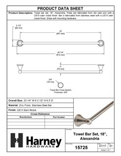 Product Data Specification Sheet Of A Towel Bar, 18 In., Alexandria Bathroom Hardware Set - Satin Nickel Finish - Product Number 15725