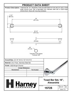 Product Data Specification Sheet Of A Towel Bar, 18 In., Alexandria Bathroom Hardware Set  - Chrome Finish - Product Number 15726