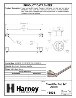 Product Data Specification Sheet Of A Towel Bar, 24 In., Austin Bathroom Hardware Set - Satin Nickel Finish - Product Number 15803