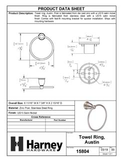 Product Data Specification Sheet Of A Towel Ring, Austin Bathroom Hardware Set  - Satin Nickel Finish - Product Number 15804