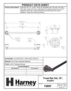 Product Data Specification Sheet Of A Towel Bar, 18 In., Austin Bathroom Hardware Set - Venetian Bronze Finish - Product Number 15807