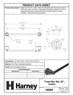 Product Data Specification Sheet Of A Towel Bar, 24 In., Austin Bathroom Hardware Set - Venetian Bronze Finish - Product Number 15808