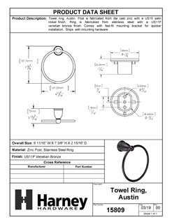 Product Data Specification Sheet Of A Towel Ring, Austin Bathroom Hardware Set  - Venetian Bronze Finish - Product Number 15809
