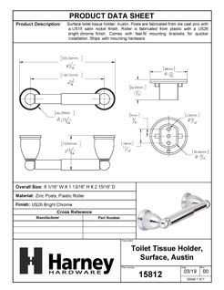 Product Data Specification Sheet Of A Toilet Paper Holder, Austin Bathroom Hardware Set - Chrome Finish - Product Number 15812