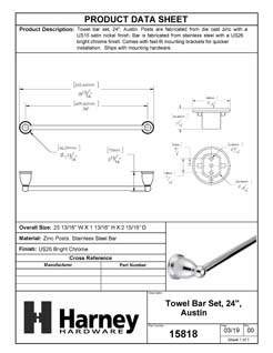 Product Data Specification Sheet Of A Towel Bar, 24 In., Austin Bathroom Hardware Set  - Chrome Finish - Product Number 15818