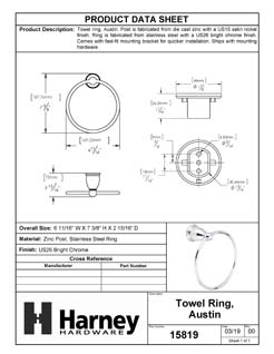 Product Data Specification Sheet Of A Towel Ring, Austin Bathroom Hardware Set - Chrome Finish - Product Number 15819
