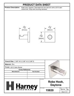 Product Data Specification Sheet Of A Robe Hook / Towel Hook, Daytona Bathroom Hardware Set - Satin Nickel Finish - Product Number 15820