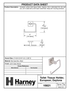 Product Data Specification Sheet Of A Toilet Paper Holder, European, Daytona Bathroom Hardware Set  - Satin Nickel Finish - Product Number 15821
