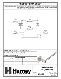 Product Data Specification Sheet Of A Towel Bar, 18 In., Daytona Bathroom Hardware Set  - Satin Nickel Finish - Product Number 15822