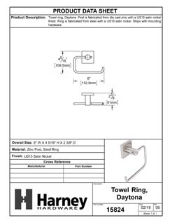 Product Data Specification Sheet Of A Towel Ring, Daytona Bathroom Hardware Set  - Satin Nickel Finish - Product Number 15824