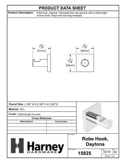 Product Data Specification Sheet Of A Robe Hook / Towel Hook, Daytona Bathroom Hardware Set - Chrome Finish - Product Number 15825
