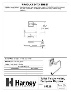 Product Data Specification Sheet Of A Toilet Paper Holder, European, Daytona Bathroom Hardware Set - Chrome Finish - Product Number 15826