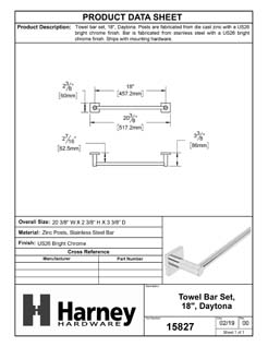 Product Data Specification Sheet Of A Towel Bar, 18 In., Daytona Bathroom Hardware Set - Chrome Finish - Product Number 15827