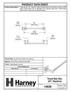 Product Data Specification Sheet Of A Towel Bar, 24 In., Daytona Bathroom Hardware Set - Chrome Finish - Product Number 15828