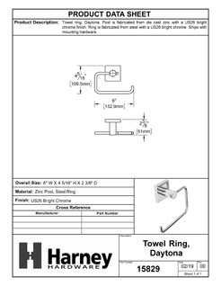 Product Data Specification Sheet Of A Towel Ring, Daytona Bathroom Hardware Set - Chrome Finish - Product Number 15829
