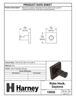 Product Data Specification Sheet Of A Robe Hook / Towel Hook, Daytona Bathroom Hardware Set - Venetian Bronze Finish - Product Number 15830