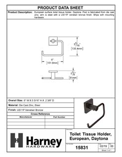 Product Data Specification Sheet Of A Toilet Paper Holder, European, Daytona Bathroom Hardware Set  - Venetian Bronze Finish - Product Number 15831