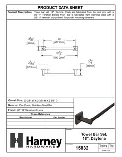 Product Data Specification Sheet Of A Towel Bar, 18 In., Daytona Bathroom Hardware Set  - Venetian Bronze Finish - Product Number 15832