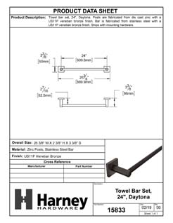 Product Data Specification Sheet Of A Towel Bar, 24 In., Daytona Bathroom Hardware Set - Venetian Bronze Finish - Product Number 15833